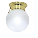 6in Ceiling Light, Pull Chain, 1-Light, Polished Brass