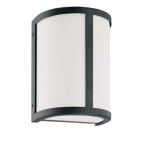 100W 8 in. Odeon Wall Sconce Light, White Satin, Aged Bronze