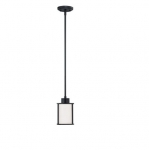 60W Oden Light Pendant, White Satin, 6-Lights, Aged Bronze