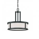 60W Oden Light Pendant, White Satin, 3-Lights, Aged Bronze