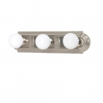 18in Vanity Light, Racetrack Style, 3-Light, Brushed Nickel