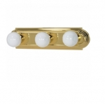 18in Vanity Light, Racetrack Style, 3-Light, Polished Brass