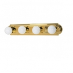 24in Vanity Light, Racetrack Style, 4-Light, Polished Brass