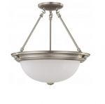 15in Semi-Flush Mount Fixture, 3-light, Brushed Nickel