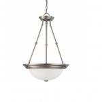 15in Pendant Light Fixture, 3-light, Brushed Nickel