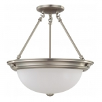 "13W Fluorescent 15.25"" Semi-Flush Mount Ceiling Light, Brushed Nickel"