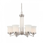 Harmony Light Chandelier, Satin White Glass