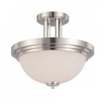 Harmony Semi Flush Fixture, Satin White Glass
