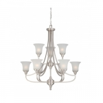 Surrey Chandelier, Frosted Glass, Two Tier