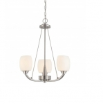 60W Helium Chandelier Light, 3-Light, Brushed Nickel