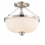 60W Helium Semi-Flush Light, 2-Light, Brushed Nickel