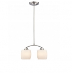 60W Helium Mini Pendant Light, 2-Light, Brushed Nickel