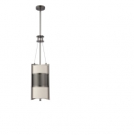 100W Diesel Vertical Pendant Light, Khaki Fabric Shade, Hazel Bronze