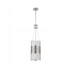 100W Diesel Vertical Pendant Light, Khaki Fabric Shade, Polished Nickel