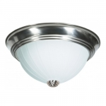 "11"" 2-Light Flush Mount Light Fixture, Brushed Nickel, Frosted Melon Glass"
