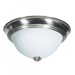 "13"" 2-Light Flush Mount Light Fixture, Brushed Nickel, Frosted Melon Glass"