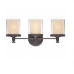 100W Decker Vanity Light, Clear & Cream, 3-Light, Sudbury Bronze