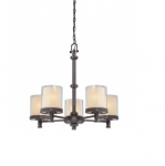 60W Decker Chandelier Light, Clear & Cream, 5-Light, Sudbury Bronze