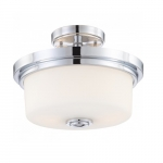 60W Soho Semi-Flush Mount Light Fixture, 2-Light, Satin White Glass