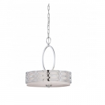 Harlow Pendant Light, Gray Fabric Shade