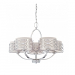 Harlow Chandelier Light, Gray Fabric Shades