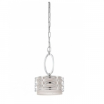 Harlow Mini Pendant Light, Gray Fabric Shade