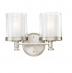 100W Decker Vanity Light, Clear & Frosted, 2-Light, Brushed Nickel