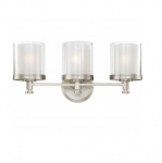 100W Decker Vanity Light, Clear & Frosted, 3-Light, Brushed Nickel