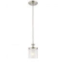 60W Decker Pendant Light, Clear & Frosted, 1-Light, Brushed Nickel