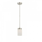 Wright Mini Pendant Light, Satin White Glass