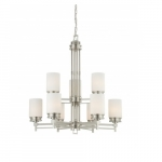 Wright Chandelier Light, Satin White Glass