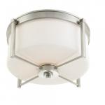 Wright Large Flush Light Fixture, Satin White Glass