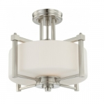 Wright Semi Flush Light Fixture, Satin White Glass