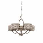 Harlow Chandelier Light, Khaki Fabric Shades