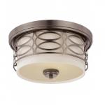 Harlow Flush Dome Light Fixture, Khaki Fabric Shade