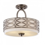 60W Harlow Semi Flush Mount Fixture, 3-Lights, Hazel Bronze Shade