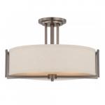 60W 3-Light Semi-Flush Mount Ceiling Light, Hazel Bronze