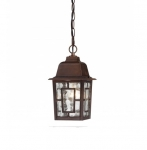 "11"" Banyon Outdoor Hanging Light, Clear Water Glass, Rustic Bronze"
