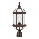 "100W 19"" 1-Light Outdoor Post Lantern, Rustic Bronze"