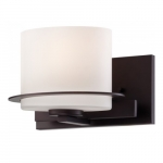 Loren Wall Mounted Vanity Light, Venetian Bronze, Etched Opal Glass