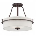 Loren Semi-Flush Mount Ceiling Light, Venetian Bronze, Etched Opal Glass