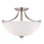 60W 3-Light Semi-Flush Mount Ceiling Light, Brushed Nickel
