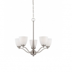 60W Patton Chandelier Light, Arms Up, Brushed Nickel