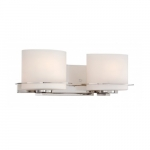 Loren 2-Light Vanity Light Fixture, Polished Nickel, Etched Opal Glass