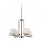 Loren 4-Light Chandelier Light Fixture, Polished Nickel, Etched Opal Glass