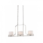 Loren Island Pendant Light Fixture, Polished Nickel, Etched Opal Glass