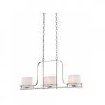 Loren Island Pendant Light Fixture, Polished Nickel, Etched Opal Glass