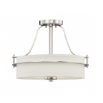 Loren Semi-Flush Mount Ceiling Light, Polished Nickel, White Linen Glass