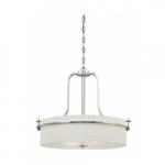 Loren Drum Pendant Light Fixture, Polished Nickel, White Linen Glass