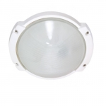 11in Outdoor Light, Oblong Round, White